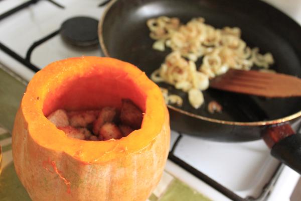 Тыква с мясом и картошкой