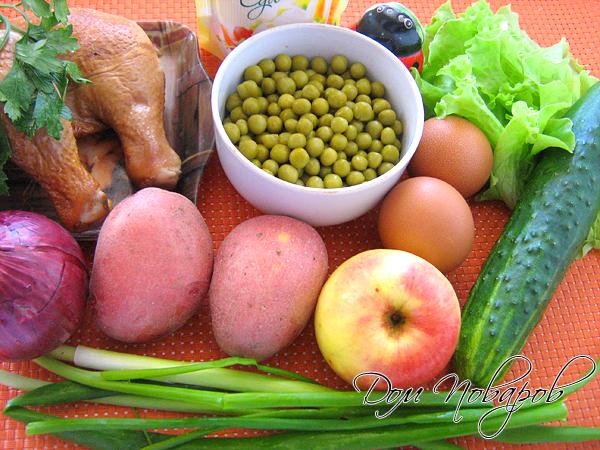 """Необходимые продукты для """"Оливье"""" с курицей"""