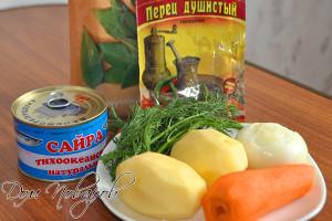 Консерва, картофель, морковь, лук и зелень