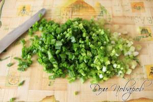 Зеленый лук промойте водой и мелко нарежьте.
