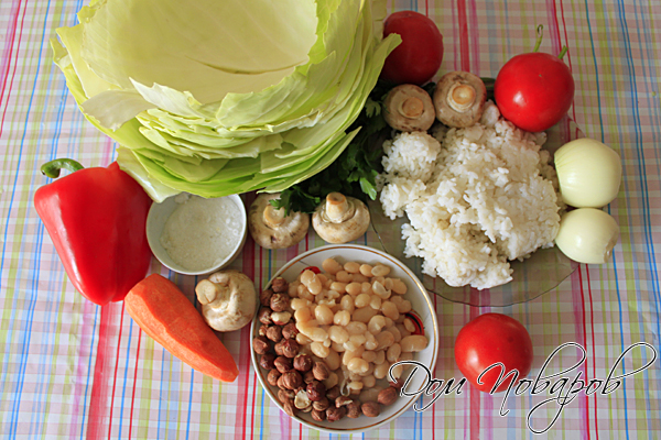 Подготовьте продукты, заранее сварите рис и бобы