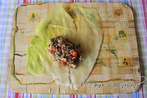 Положите начинку в центр капустного листа