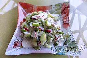 Салат с редисом и огурцом готов.