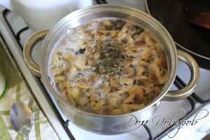 Добавьте лук с грибами, специи, посолите
