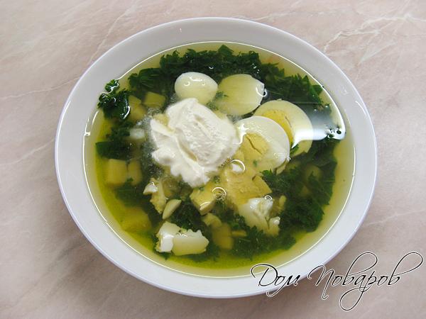 Суп с крапивой, яйцом и сметаной