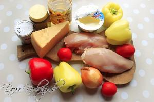 Ингредиенты для приготовления перцев с куриным филе