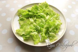 Первым слоем укладываем листья салата