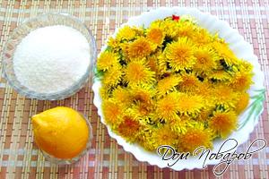 Свежие одуванчики, сахар и лимон