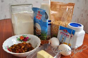Подготовьте продукты, яйца, масло и молоко достаньте заранее из холодильника